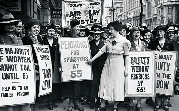 MAY 14TH 1938, LONDON, SPINSTERS AND WIDOWS PROTESTING FOR EQUITY