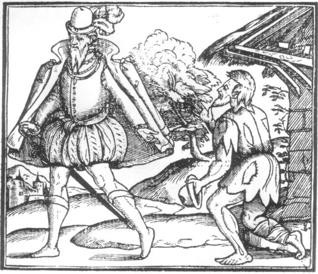 Woodcut_Giving_Alms_to_a_Beggar
